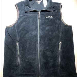 Eddie Bauer Full Zip Navy Fleece Vest